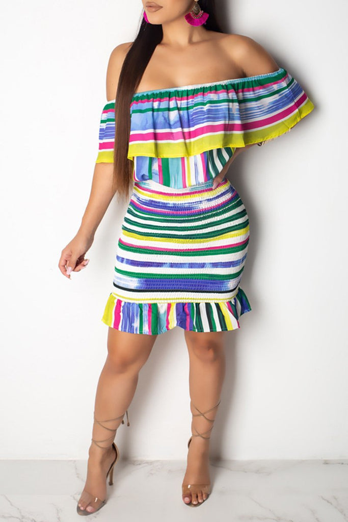 Colorful Striped Off The Shoulder Mini Dress