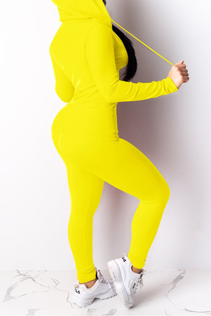 Solid Color Hooded Collar Bodycon Top & Pants