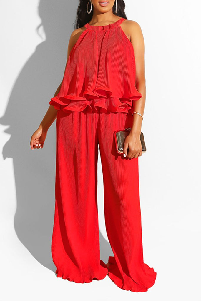 Ruffled Halter Neck Sleeveless Two Piece Sets