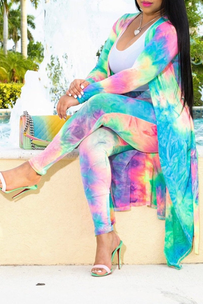 Plus Size Tie Dye Casual Two Piece Sets