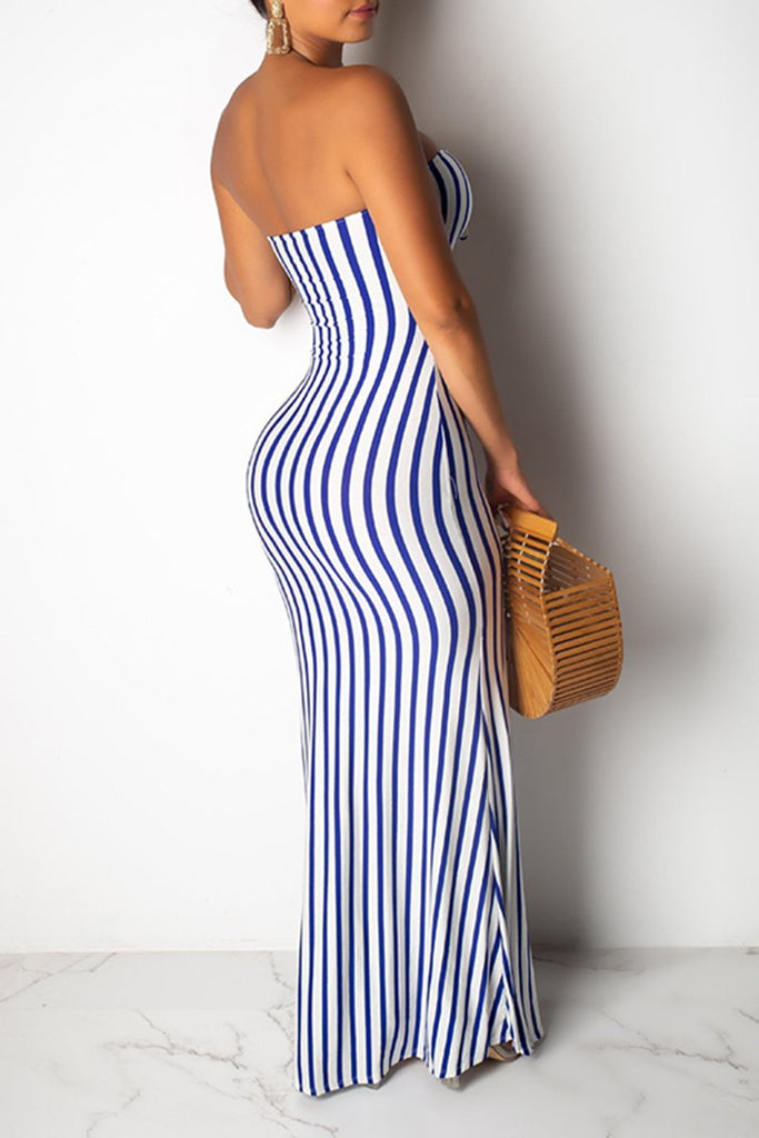 Striped Pierced Strapless Maxi Dress