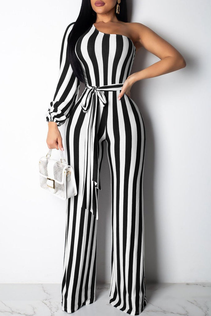 Stripe Print Belted One Sleeve Casual Jumpsuit