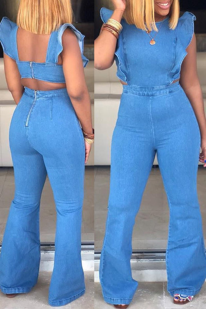 Plus Size Ruffle Open Back Hollow Out Denim Flared Jumpsuit