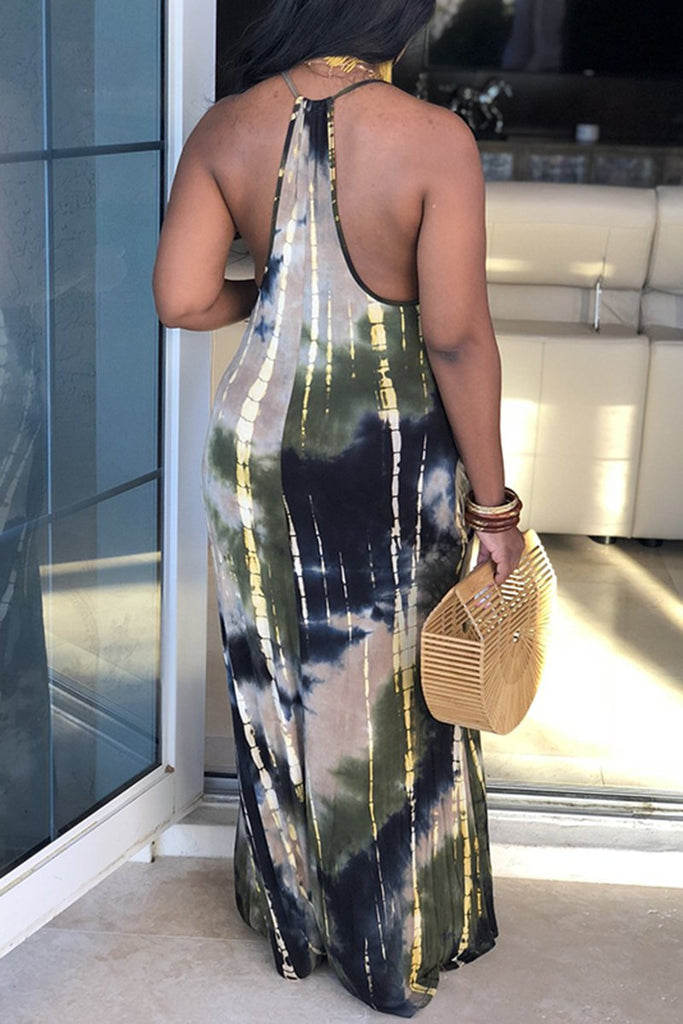 Tie Dye Gradient Side Slit Maxi Dress