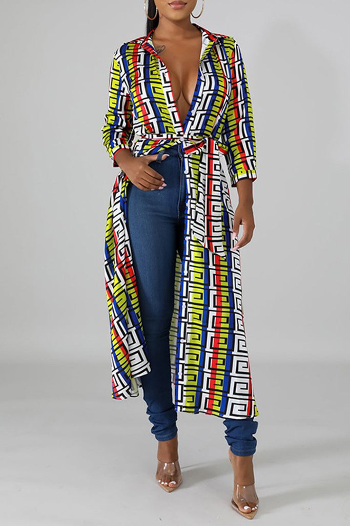 Geometric Print Colorful Maxi Dress With Belt
