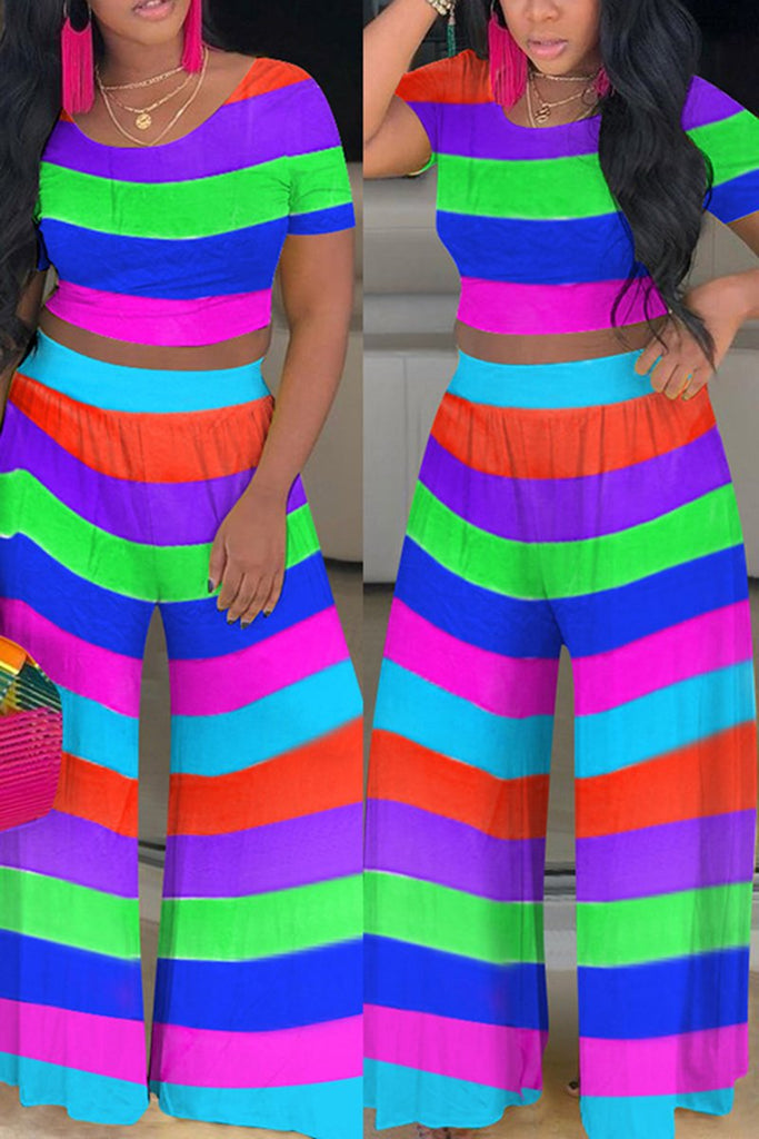 Casual Rainbow Striped Top & Wide Leg Pants