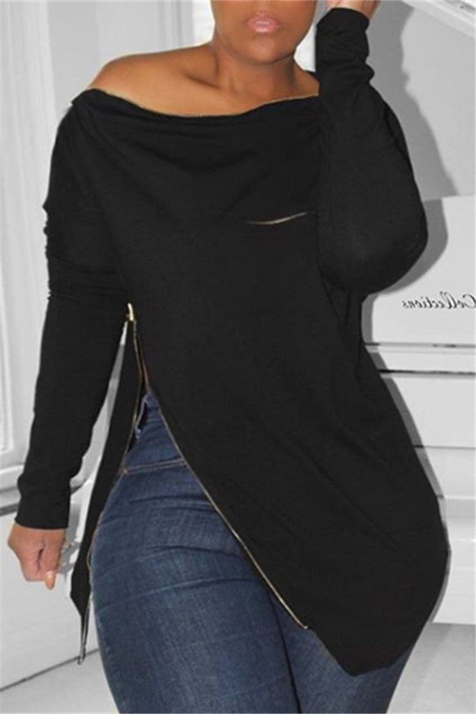 Plus Size Skew Neck Zipper Asymmetric Sweatshirt
