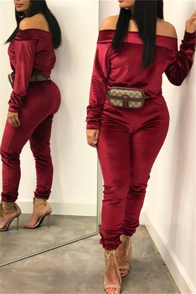 Off the Shoulder Drawstring Casual Two Piece Sets