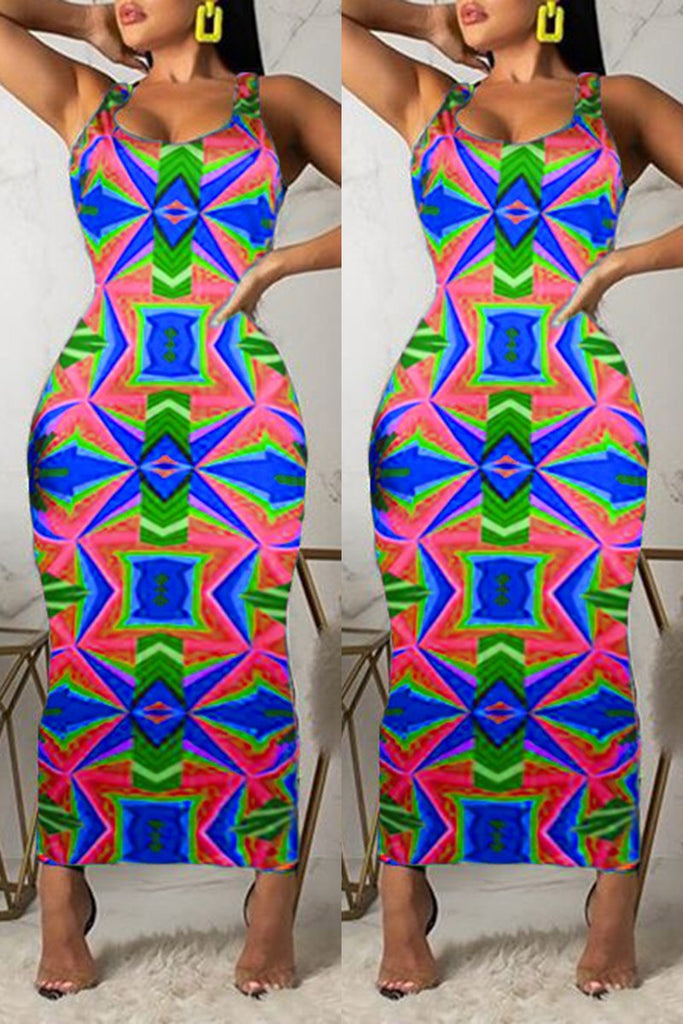 Geometric Print Sleeveless Midi Dress