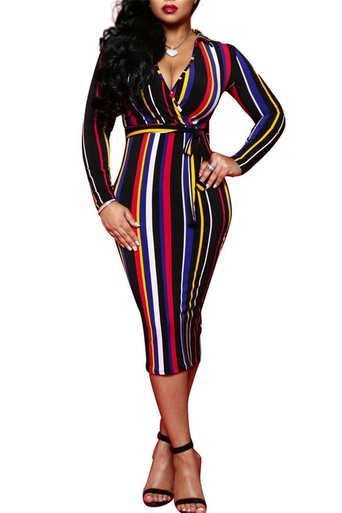 V Neck Long Sleeve Striped Wrap Dress