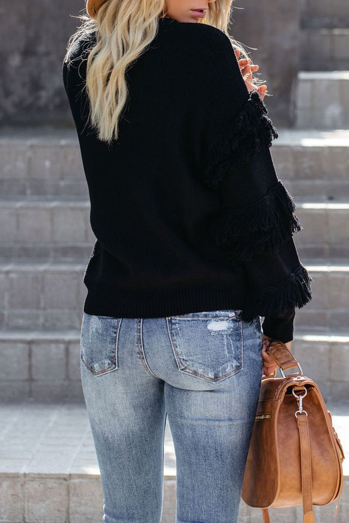 Knitted Tassels Solid Color Sweater