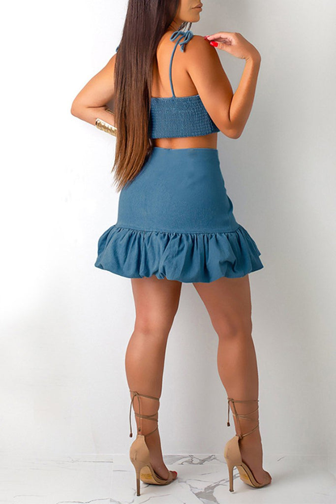 Ruffled Hem Draped Bandage Top & Skirt