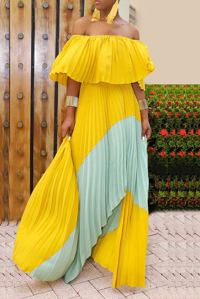 Off The Shoulder Patchwork Ruffled Maxi Dress