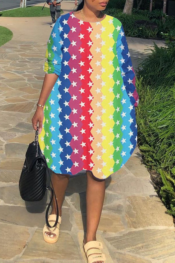 Rainbow Striped Long Sleeve Pocket Midi Dress