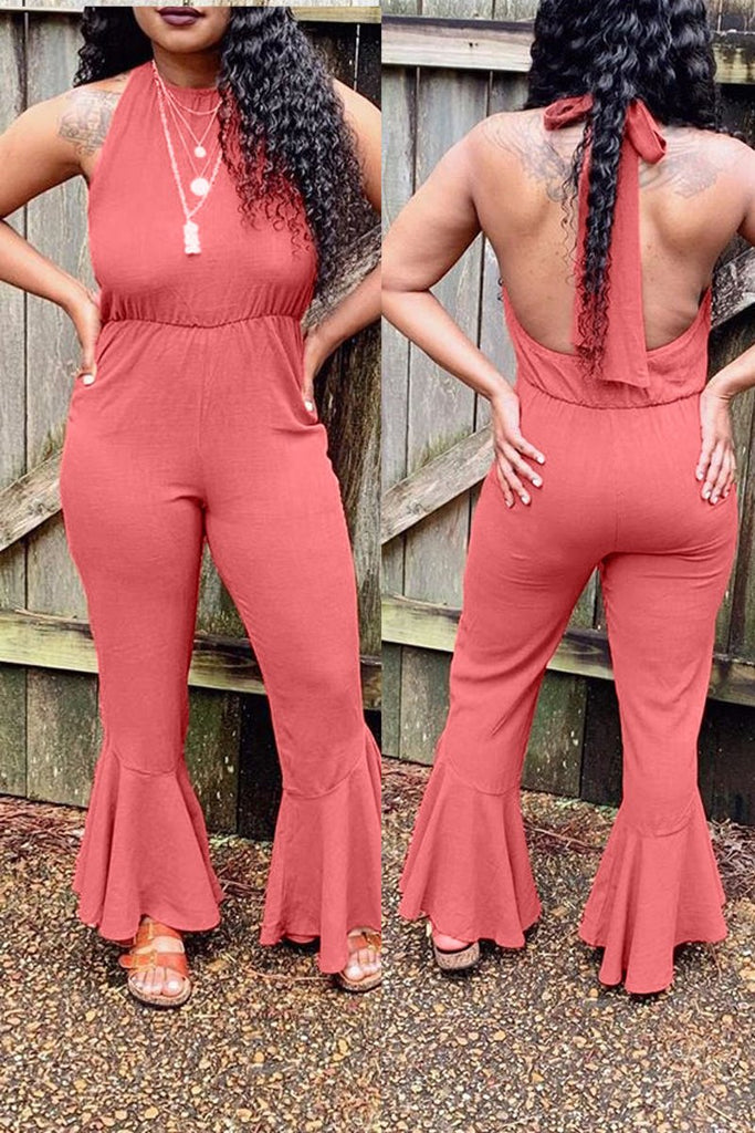 Halter Neck Bandage Open Back Jumpsuit