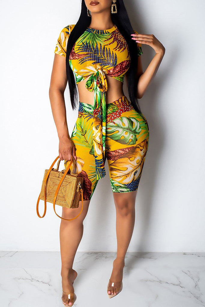 Knot Front Print Short Sleeve Two Piece Sets