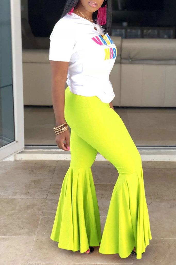 Plus Size Solid Color High Waist Flared Pants