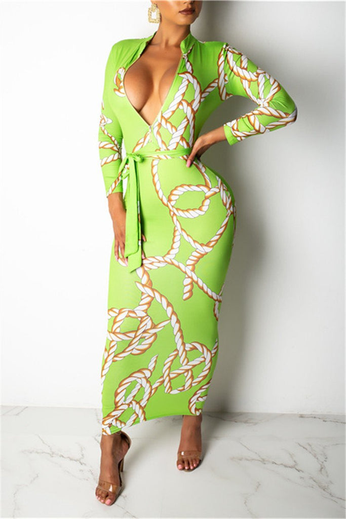 Chain Print Long Sleeve Maxi Dress