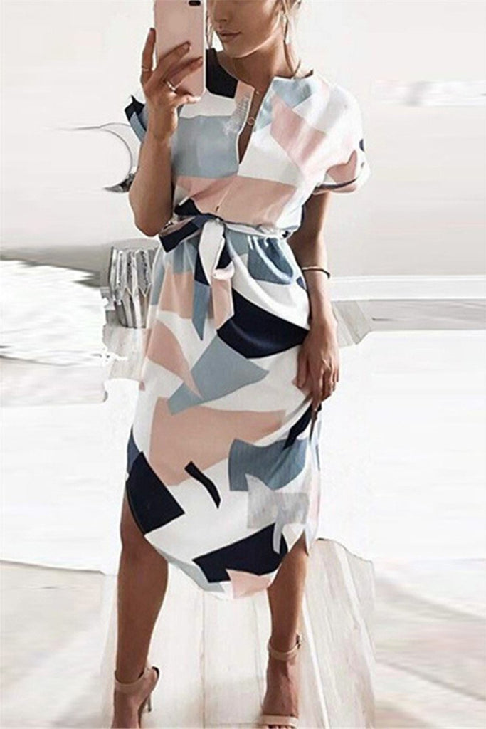 Split Neck Curved Hem Printed Dress