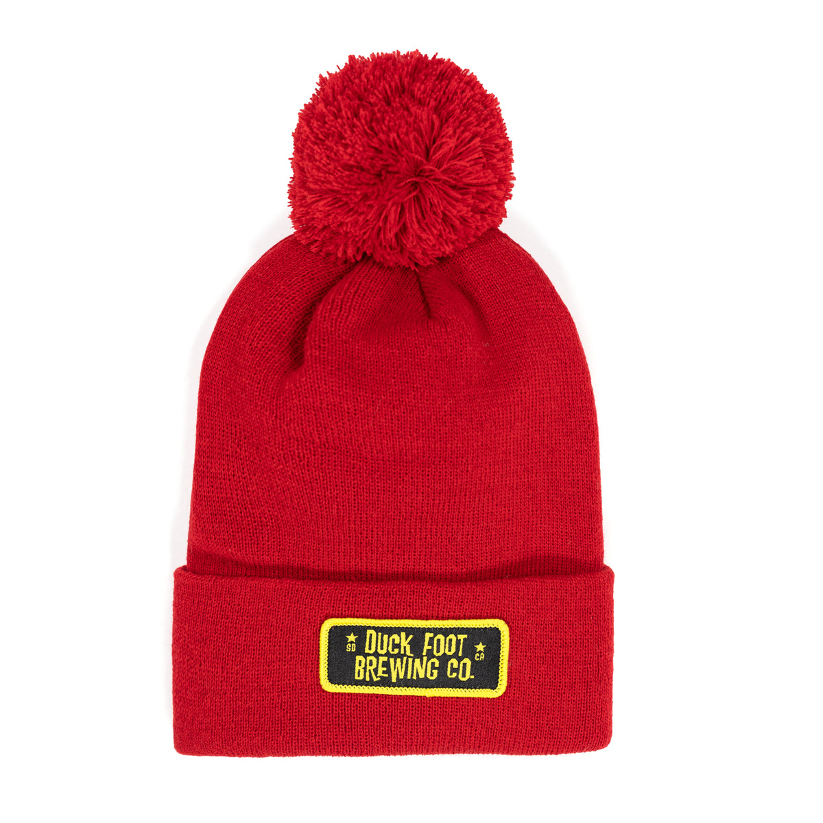Original Rectangle Patch Pom Pom Knit Beanie (Red)