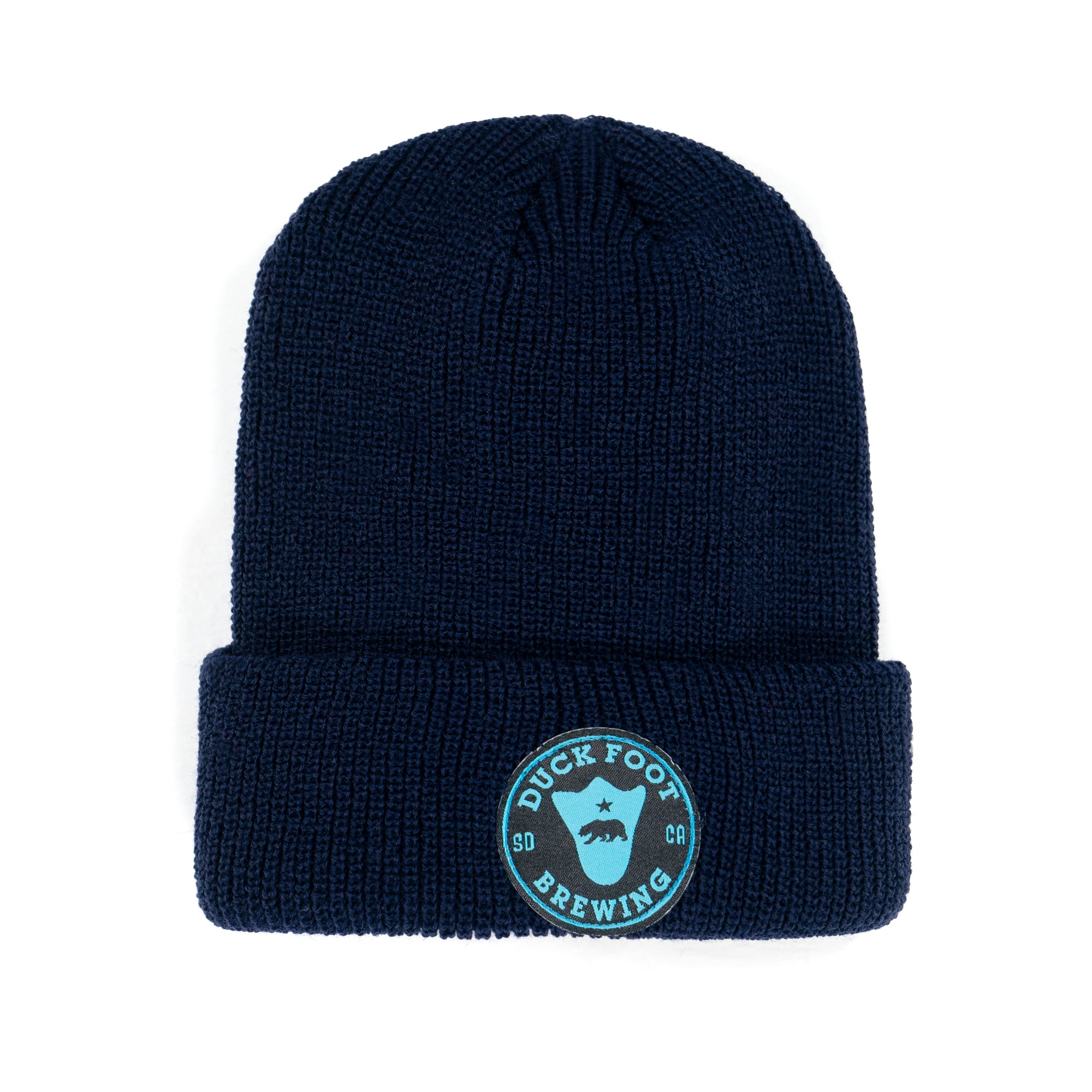 Bear Foot Circle Patch Skull Cap Beanie (Navy)