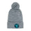 Bear Foot Circle Patch Pom Pom Knit Beanie (Grey)