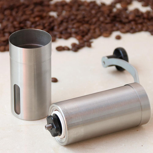 Mini Manual Hand Silver Coffee Grinder, Stainless Steel Grinder