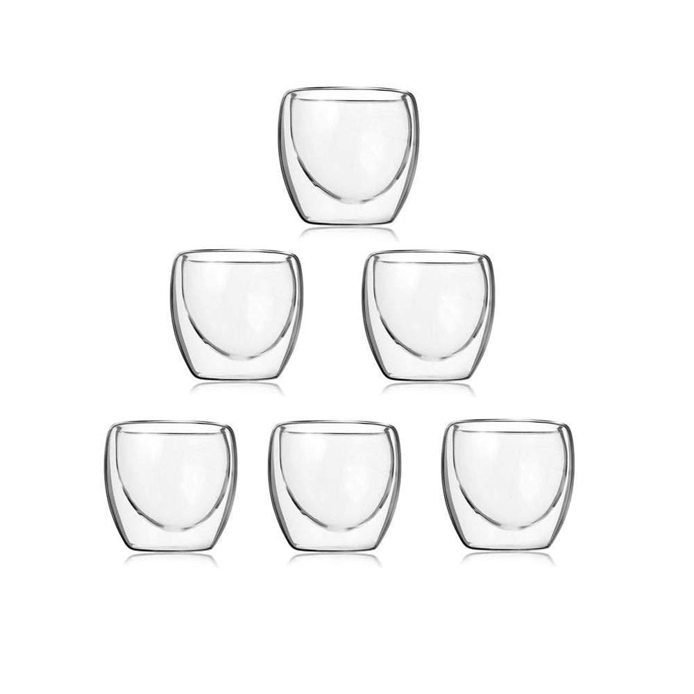 6pcs Set Double Wall Glass Clear Handmade for Coffee, latte, Espresso