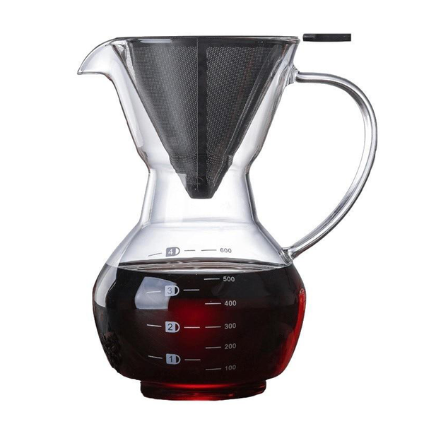Pour Over Coffee Machine Manual Drip Glass Coffee Maker Stainless Steel Filter Coffee