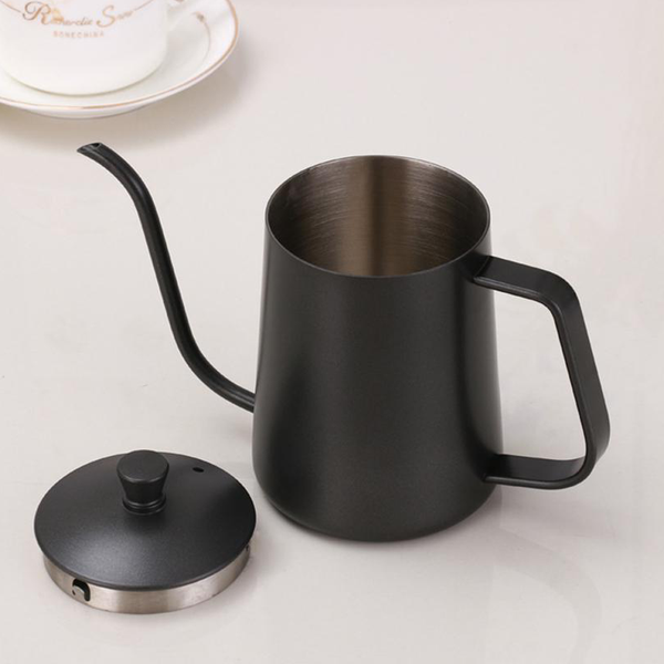 Black Stylish Drip Coffee Pot Teflon Non-Stick 600ml for V60, Drip Coffee