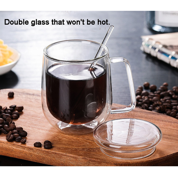 Double Glazing Glass Heat-resistant Cups with Lid and Spoon