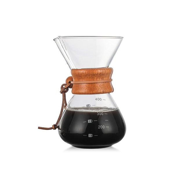 Chemex Coffee Maker, Pour Over Coffee Maker with stainless steel filter pot, High-Temperature Resistant Glass