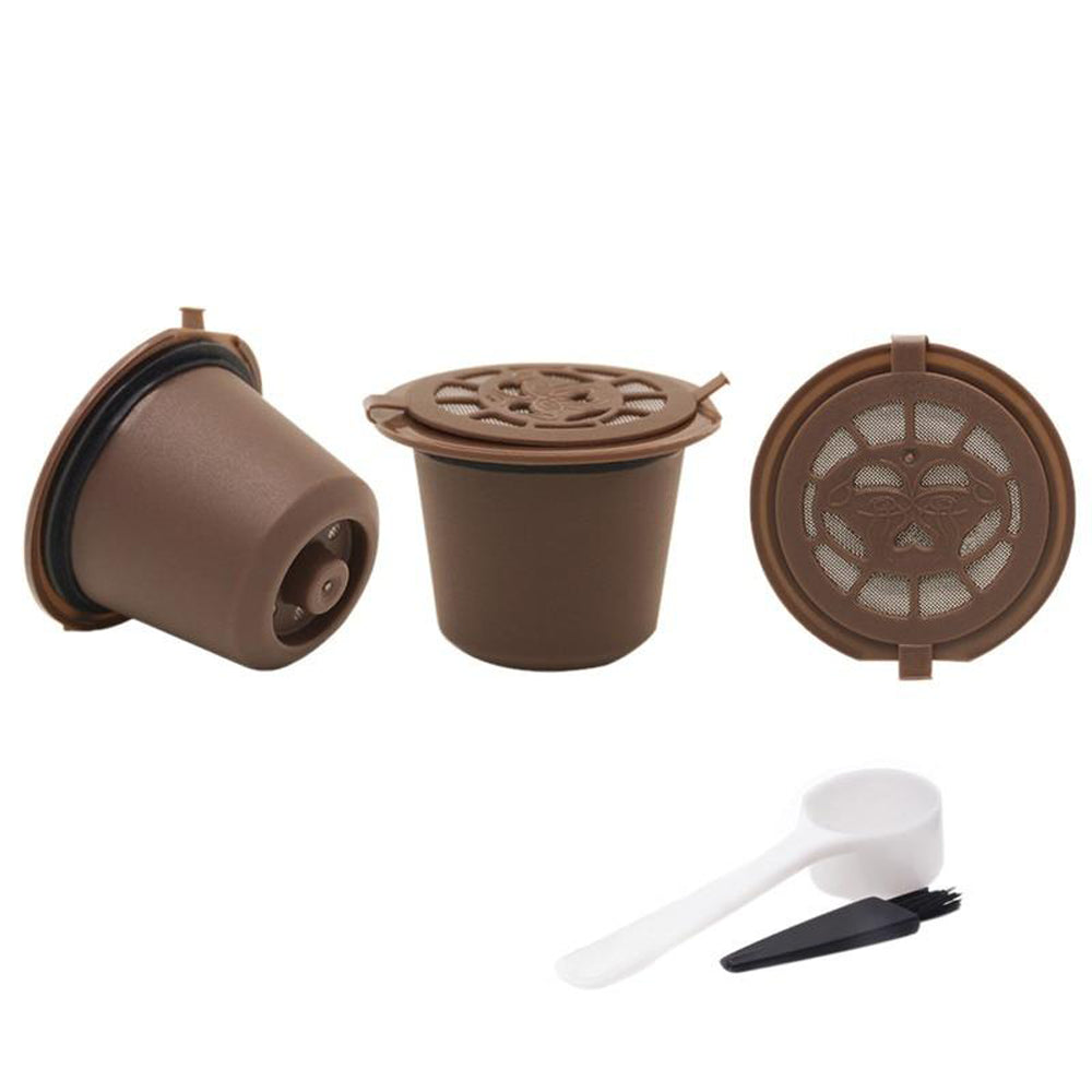 Refillable Nespresso Coffee Capsule With Plastic Spoon Filter Pod and Brush 3PCS/Set