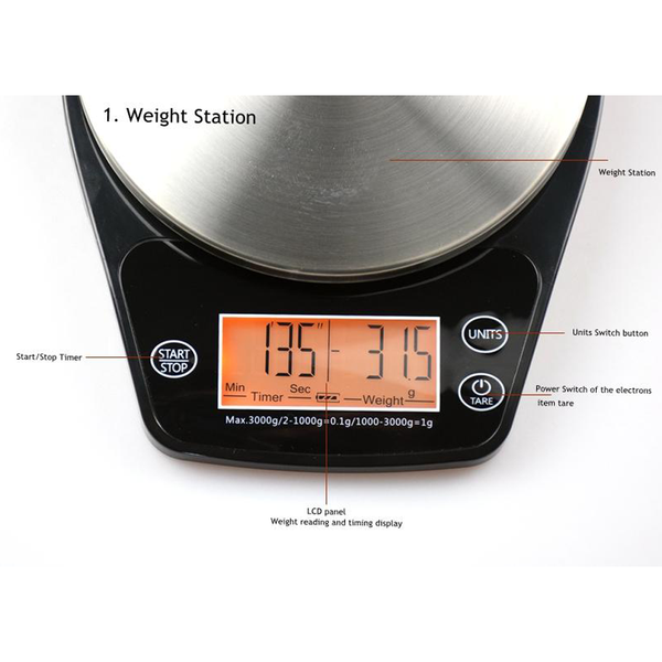Elegant Mini V60 Coffee Drip Scale with Timer