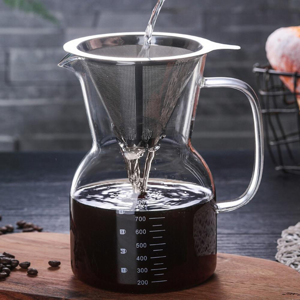 Chemex Pour Over Coffee Maker With Stainless Steel Filter Drip Brewing