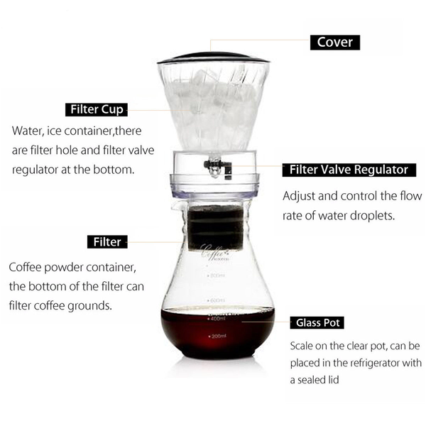 Cold Ice Water Drip Coffee Maker Brew Pot Dripper Coffeemaker
