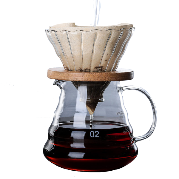 Glass Coffee Maker Dripper and Pot V60 with wooden brackets - Full Set