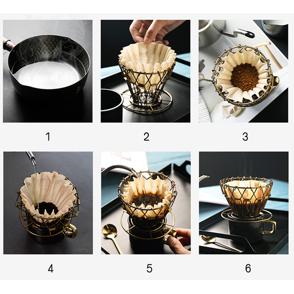 Vintage Coffee Dripper, Foldable Coffee Filter for V60 Style Coffee with 100 Filter
