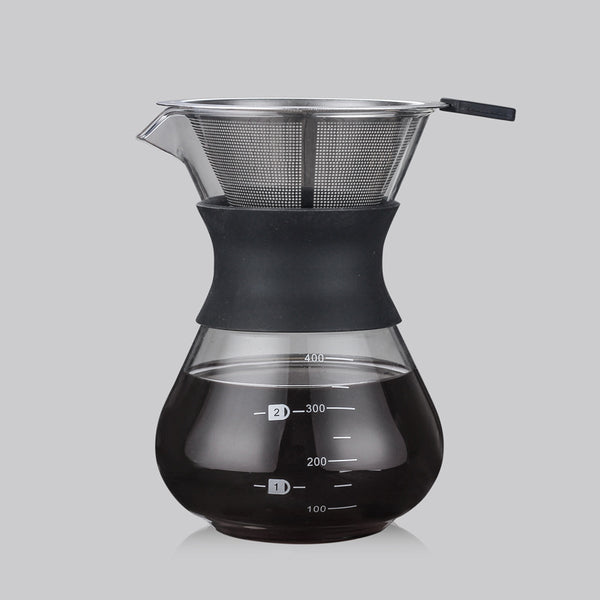 Black Chemex Coffee Maker with Stainless Steel Filter, Pour Over Coffee Type