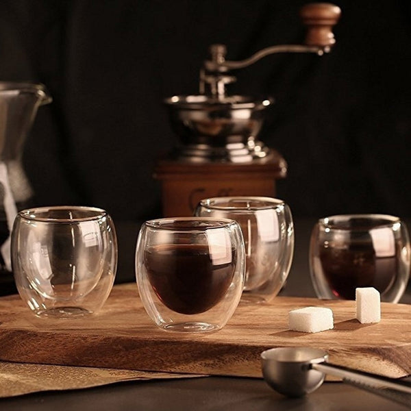 Set of Double Wall Glass Espresso Coffee Cup available in 80ml /250ML/350ML/450ML