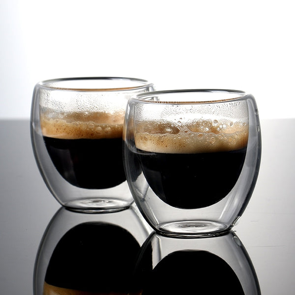 Double-wall Cup Set of 2 for Drinking coffee,Latte,Espresso cups 80ml