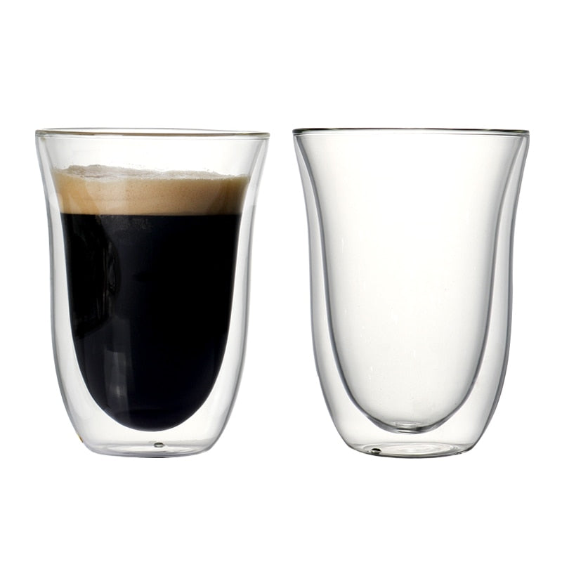 Set of 2 270ml double wall coffee cup sets for coffee, juice,drink, latte,espresso high quality borosilicate coffee cups
