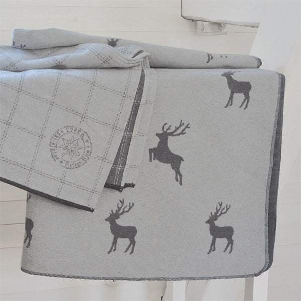 David Fussenegger Grey Reindeer Allover Silvreta Throw