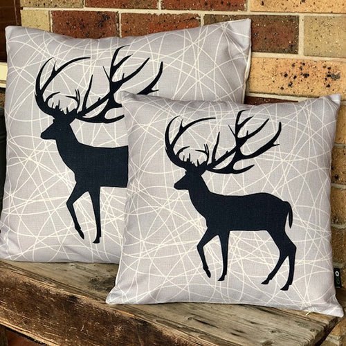 Deer Silhouette Charcoal Background Cushion
