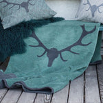 David Fussenegger Glass Green Antlers Throw 200cm x 140cm
