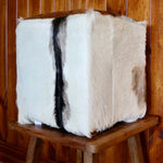 Square Goat Hide Foot Stool