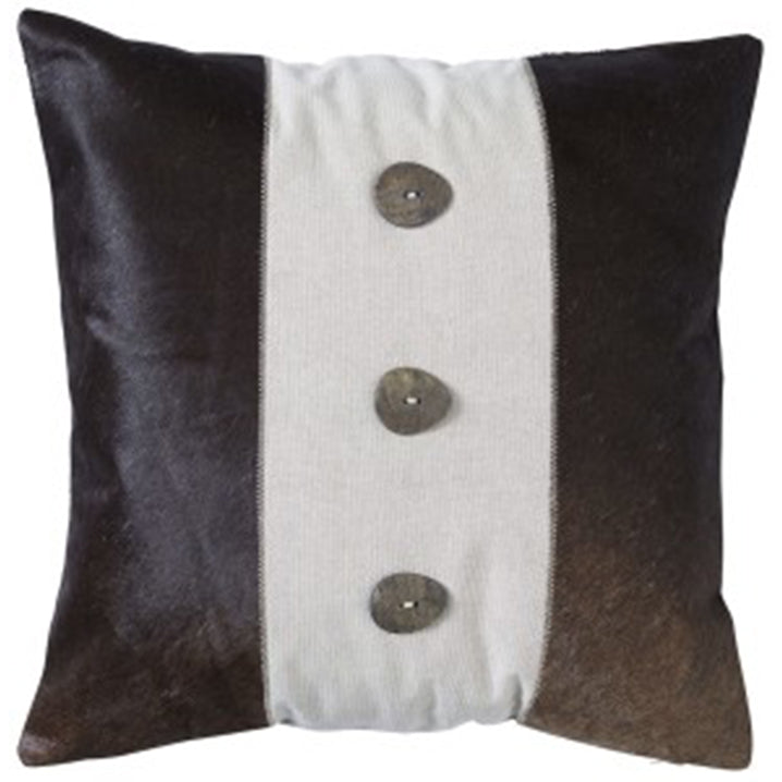 Paloma Living Cow Hide Button Cushion