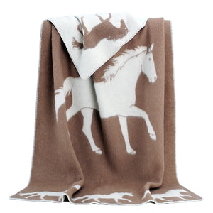 JJ Textile - Ride Horse Throw Brown