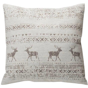 David Fussenegger Off White Alpine Border Deer Savona Cushion