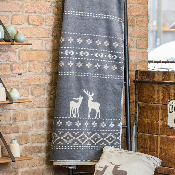 David Fussenegger Grey Alpine Border Deer Savona Throw